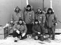 1973 Weddell seal researchers outside hut on the sea ice of McMurdo Sound